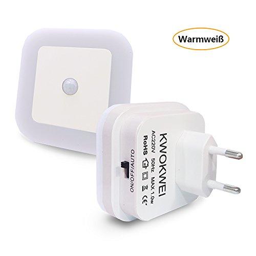 Warmweiß, LED Nachtlicht mit Bewegungsmelder und Helligkeitssensor, KWOKWEI LED Nachtlichter mit Integriertem Dämmerungssensor, mit Infrarotsensor Orientierungslicht, 3 Modi (ON/OFF/AUTO) Energiesparsam Stimmungslicht für Schlafzimmer, Treppenhaus, Badezimmer