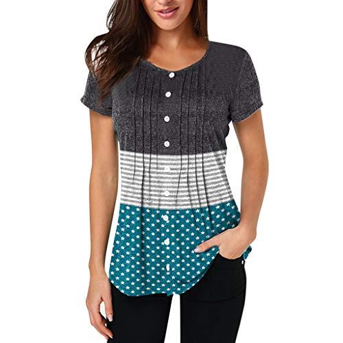 Damen Gestreift Tops MEIbax Damen Splei?en Bluse Kurzarm Gestreift Tops Damenbekleidung Sale OberteileDamen Baumwolle Leinen T Shirt