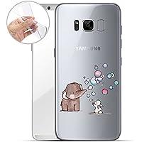 finoo | Samsung Galaxy S8 Weiche Flexible Silikon-Handy-Hülle | Transparente TPU Cover Schale mit Motiv | Tasche Case Etui mit Ultra Slim Rundum-Schutz | Elefant Hase Seifenblasen