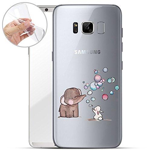 Finoo | Samsung Galaxy S8 Weiche Flexible Silikon-Handy-Hülle | Transparente TPU Cover Schale mit Motiv | Tasche Case Etui mit Ultra Slim R&um-Schutz | Elefant Hase Seifenblasen
