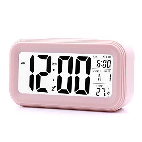 Smart Digital Wecker, LED Digital-Wecker Batteriebetriebener mit einem großen Display, Snooze-Funktion für 5 Minuten, Datums-, Temperatur-Anzeige und Lichtsensor (Rosa)