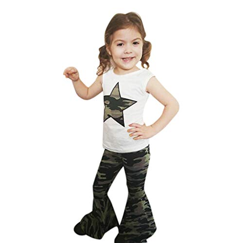 jerffer JERFER Baby Maedchen Set Kleidung Infant Star Tee Tops+Camouflage Flared Pants Outfits Set