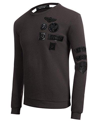 ... ZEARO Herren Casual O-Neck Langarm Applikationen Pullover Sweatshirt  Braun ...