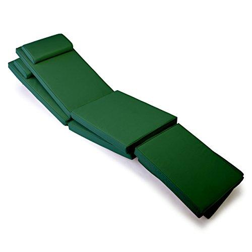 Nexos GL06053_SL2 DIVERO 2er Set Sitzauflage Stuhlkissen Sitzpolster für Gartenmöbel Steamer Deckchair Holzliege Liegestuhl - bequem hochwertig robust - grün, dunkelgrün