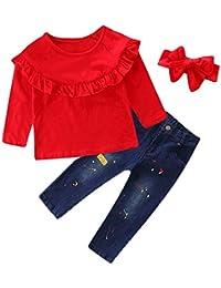 JYC Conjunto de Ropa para Niñas,Conjuntos para niñas Bebe,3PC Niño Bebé Chicas Tops+Impresión Mezclilla Pantalones+Banda de Pelo Ropa Trajes Conjunto