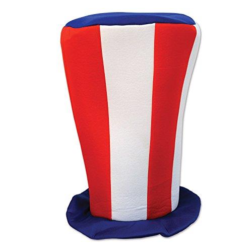 Beistle Patriotische Plüsch hoch Top Hat, 40,6cm rot/weiß/blau (Rote Top Und Weiße Hat)