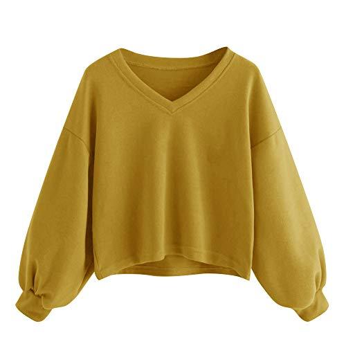 Yvelands Mode Damen Solid Casual Drop Schulter Laterne Ärmel Sweatshirt Pullover Tops …