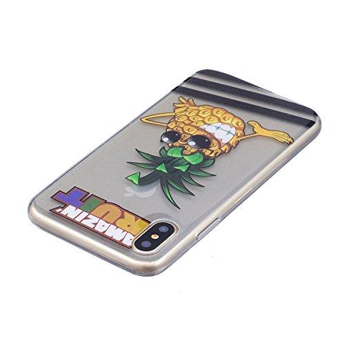 iPhone X Hülle, Voguecase Silikon Schutzhülle / Case / Cover / Hülle / TPU Gel Skin für Apple iphone X(Mädchen im bunten Kleid) + Gratis Universal Eingabestift Gläser Ananas 01