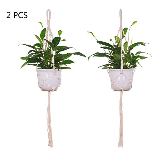 2 stücke häkeln pflanze aufhänger korb baumwolle seil geflochtene hängen pflanzer moderne decke blumentopf bonsai halter mit schlüsselanhänger für indoor outdoor büro (Moderne Wand-pflanzer)