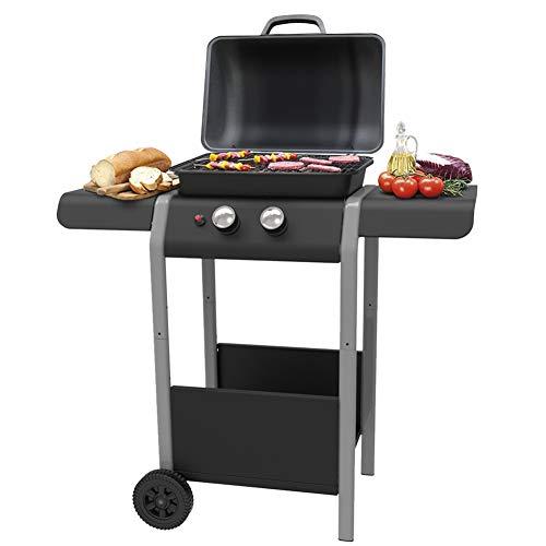 Bakaji Barbecue Gas 2 Fuochi Bruciatori Griglia BBQ con 2 Piani Laterali Ruote e Ripiano Inferiore Grill 5kw Area di Cottura 46 x 34 Dimensioni 110 x