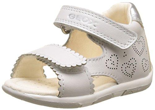 Geox b tapuz b, sandali a punta aperta bimba, bianco (white/silver), 24 eu