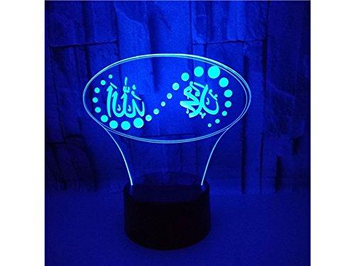 NqceKsrdfzn Islam 3D Optical Illusion Dekorative Nachtlicht 7 Farbwechsel Touch Tisch Schreibtischlampe Usb Powered Lamp Geschenk Schlafzimmer Dekorative Tischlampe