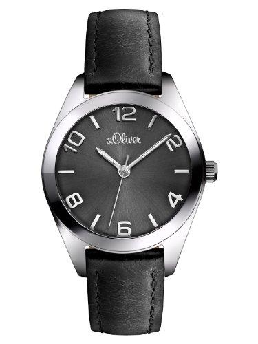 s.Oliver Damen-Armbanduhr XS Analog Quarz Leder SO-2769-LQ (Leder Uhr-silber-zifferblatt)