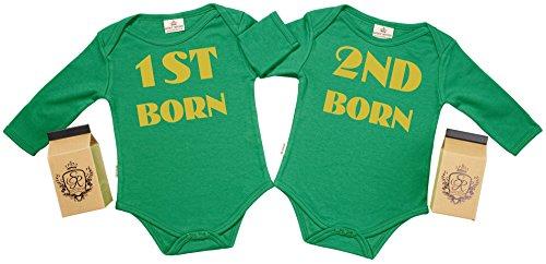 SR - estuche de presentación - 1st Born & 2nd Born body gemelos bebé - ropa para gemelos bebé - regalo para gemelos bebé, Verde, 0-6 meses