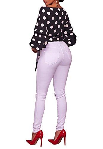 OMZIN Frauen sexy Polka Dot Bluse Wrap V Neck Bell Ärmel Gürtel Krawatte Taille Top Schwarz