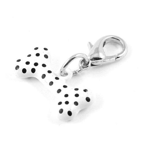 Klassische Metallic-gürtel (Sourcingmap Knochenform Anhänger Katze Hund Halsband Charm mit Karabinerverschluss, Weiß)