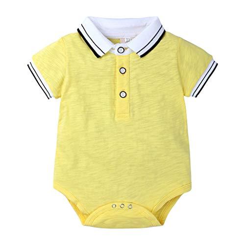 Alwayswin Neugeborenes Baby Jungen Gentleman Kurzarm Shirt Streifen Bodysuit Strampler Kleidung Bequem Atmungsaktiv Baumwolle Top Knopf Revers Freizeit Spielanzug Babykleidung