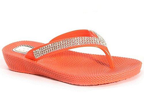 Scarpe infradito, da donna, basse, estive, con strass, da spiaggia, da sera Red