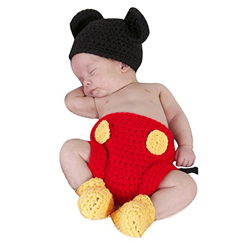 Baby Sets Strick Kostüm Gestrickt Mütze Hose Fotoshooting Hut ()