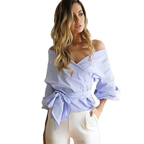 OverDose Damen Schulterfrei Bandage weg von der Schulter Hemd Partei beiläufig mit V-Ausschnitt Tops Bluse Blau