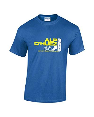 """Radfahren De Tour France (T-Shirt mit """"Alp D´Huez""""-Aufschrift, fürs Radfahren, im Stil der Tour de France.  Gr. Medium, königsblau)"""