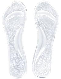 Gleader 1 par de plantillas de gel transparente con soporte para el arco para el cansancio del pie delantero / estres / dolor / Masaje