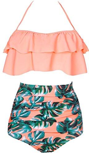 OLIPHEE Damen Bikini Set Hohe Taille Bademode Bauchweg Tankini Vintage Neckholder Push Up Schwimmanzug Rosa Blumen M