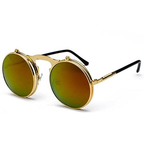 QQBL Männer und Frauen Allgemeine Retro Metall Steampunk Flip-Runde AC Kreisförmigen Rahmen UV400 Sonnenbrille,Red