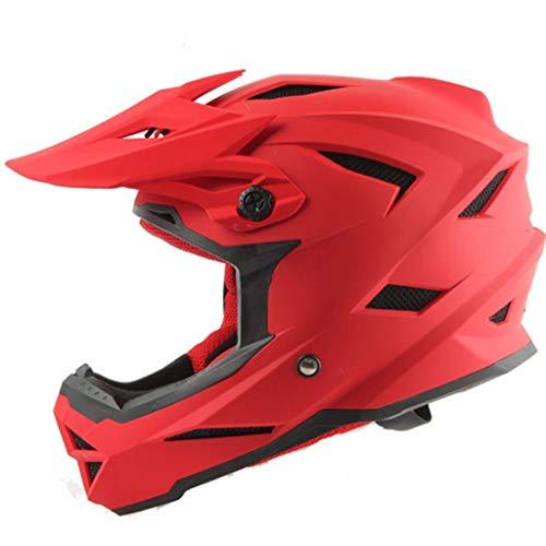GXQ Casco Integrale da Casco in Bianco e Nero Casco Integrale da Motociclista Casco Downhill da Motociclista Casco Professionale da Uomo e da Donna (Colore : Rosso, Dimensioni : L.)