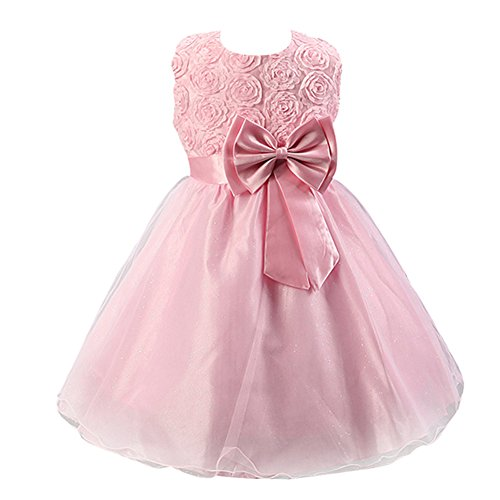 Free Fisher Baby/Kinder Mädchen 'Blumen'-Kleid Festlich, Rosa, Gr. 146( Herstellergröße: 150)