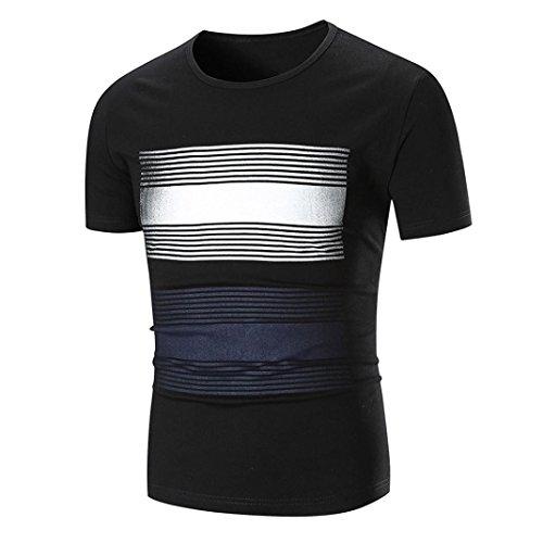 VEMOW Männer Sommermode Lässig Täglichen Gestreiften O Neck Pullover Kurzarm T-Shirt Top Bluse(Schwarz, EU-52/CN-L)