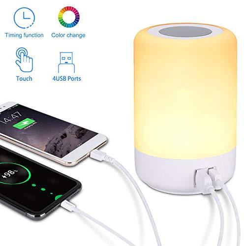 Lámpara de mesa USB, lámpara de mesita de noche LED con 4 puertos de carga USB rápidos, luz blanca...