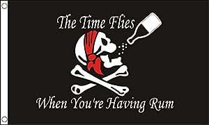 Mouches Temps lorsque vous êtes étant Rhum Drapeau Pirate 5'x3'