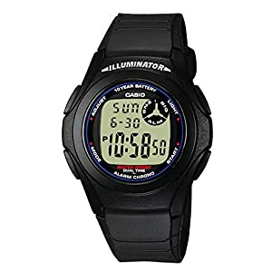Casio Collection F-200W-1AEF, Reloj Redondo para Mujer, Digital, Acero Inoxidable, Negro