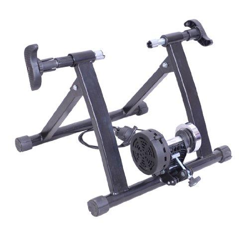 HOMCOM - Rodillo entrenamiento bicicleta color negro acero cicloentrenador bici con Cable de Resistencia 5 Niveles