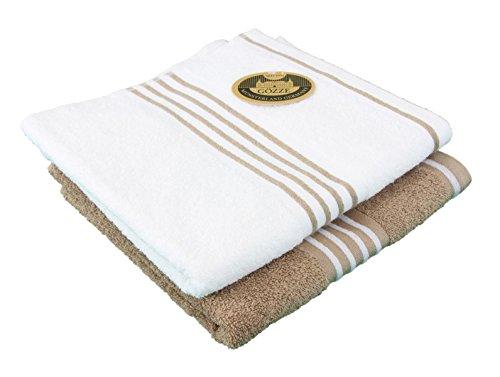 Gözze Handtuch 2er-Set, 100% Baumwolle, 50 x 100 cm, Rio, Vollfarbig/Weißgrundig Sand, 140-73-A4
