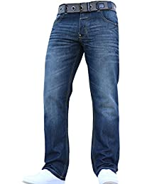 New Mens Boys Crosshatch Straight Leg Smart Fashion Jeans Trousers in All Waist & Sizes