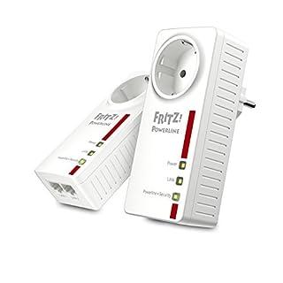 AVM Fritz! Powerline 1220E Set (1,200 MBit/s, 2x Gigabit-LAN je Adapter, ideal für NAS-Anwendungen und HD-Streaming, deutschsprachige Version, weiß)