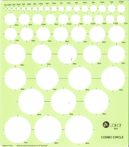 Jakar Metric Templates - Combination Circle: 2-39mm. 183x208mm (4646) by Jakar