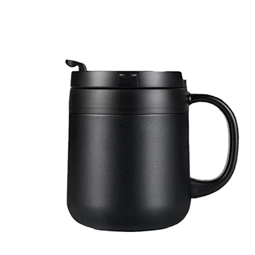 7e31527a756f0c loiofoe 340ML Stainless Steel Insulated Coffee Cup - Vacuum Insulated  Tumbler Thermos Travel Coffee Mug for Hot/Cold Drinks Dishwasher Safe  (Black)
