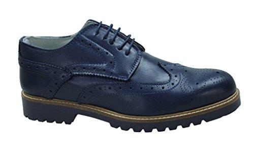 Scarpe uomo francesine blu vera pelle artigianali casual eleganti (41)