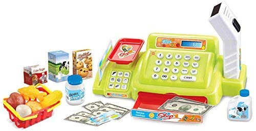 einkaufen spiel Quickdraw grün Kinder Kasse elektronisch Scanner Waage Supermarkt Einkaufen Spiel Tilly & 24 Zubehör 888a