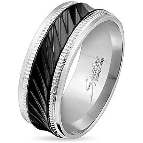 Paula & Fritz® Anillo de acero inoxidable acero quirúrgico 316L 6o 8mm de ancho de banda negra con Diagonal Rayas disponibles Ring tamaños 47(15)–69(22) R de