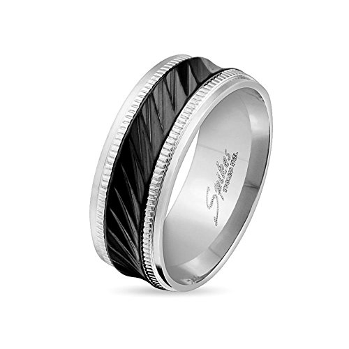 Paula & Fritz® Anillo de acero inoxidable acero quirúrgico 316L 6o 8mm de ancho de banda negra con Diagonal Rayas disponibles Ring tamaños 47(15)-69(22) R de