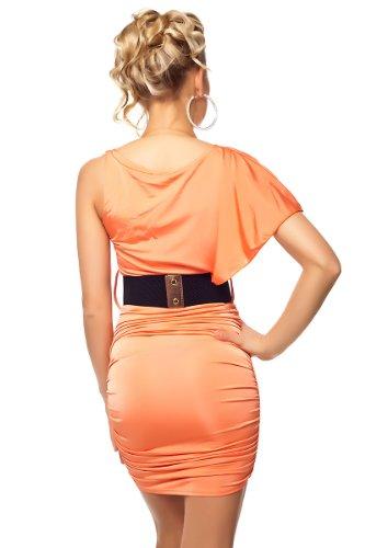 Partykleid kurz Minikleid Asymmetrisch One Shoulder Fledermausarm und mit Gürtel Korall