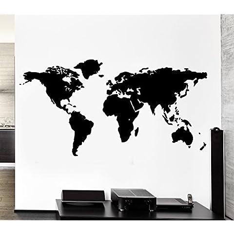 Mapa del Mundo Outline Continentes País Las Naciones Europa Asia África Mural Wall Art Decor vinilo