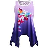 BBring Damen Bluse, Frauen Mode Schmetterlings Druck Lässige Spitze Trägershirt T-Shirt Sommer Oberteile