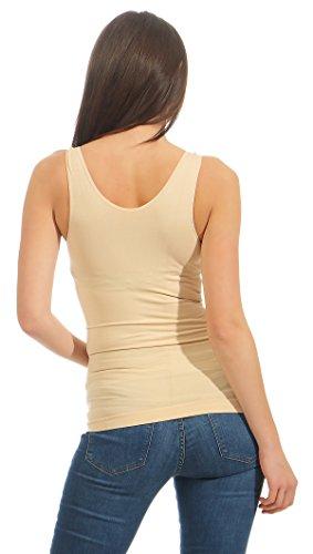 Slim -Fit Unterhemd Mieder Damen Bauchweg-Shirt Ripp Unterwäsche BF 22 Beige