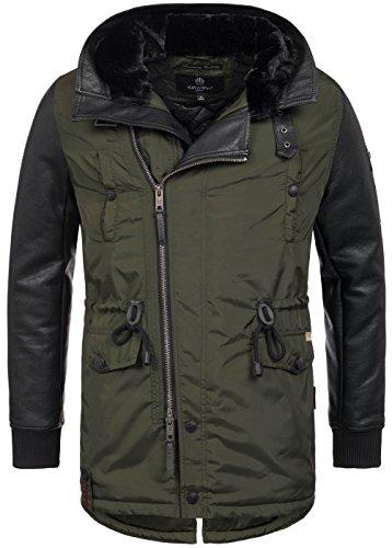 Navahoo warme Designer Herren Winter Jacke leichte Winterjacke Parka Mantel B622 [B622-Shinook-Grün-Gr.XL] (Nylon-kapuze Fleece-gefütterte Jacke)