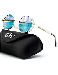 f65a609064b CGID E72 Retro Steampunk Style Unisex Inspired Round Metal Circle Polarized  Sunglasses for Men and Women